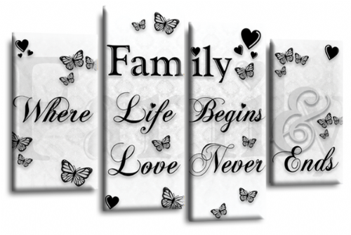 Family Quote Canvas Wall Art Picture Print White Black Grey